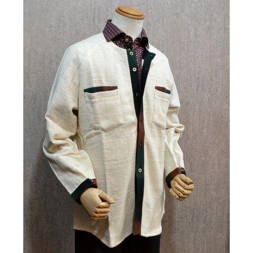 東海道江尻宿シャツ メンズ 和風 長袖シャツ 生成りラグラン こだわりの逸品オリジナル商品