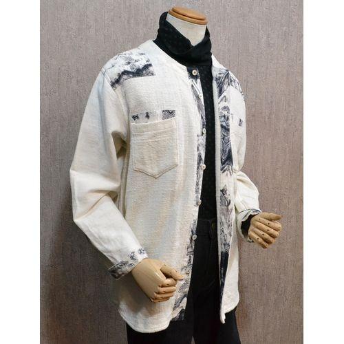 東海道江尻宿シャツ メンズ 和風 長袖シャツ 生成り 夾纈染 こだわりの逸品オリジナル商品