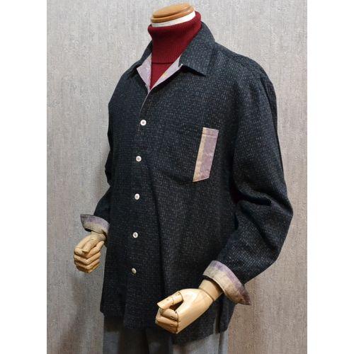 東海道江尻宿シャツ メンズ 和風 長袖シャツ 開襟黒絣り こだわりの逸品オリジナル商品
