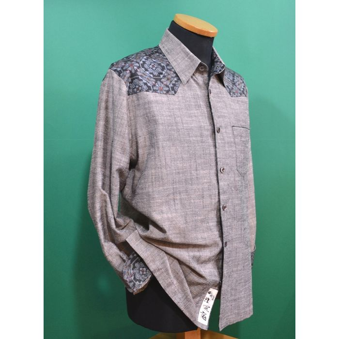 (受注生産) 東海道江尻宿シャツ メンズ シルク生地 和風 長袖シャツ 大島紬使用 こだわりの逸品オリジナル商品