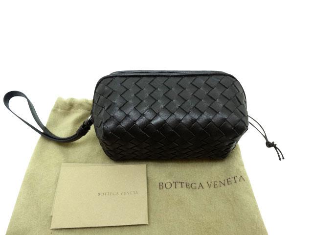 ボッテガヴェネタ イントレチャート 黒 ストラップ付ポーチ B00172987P 未使用