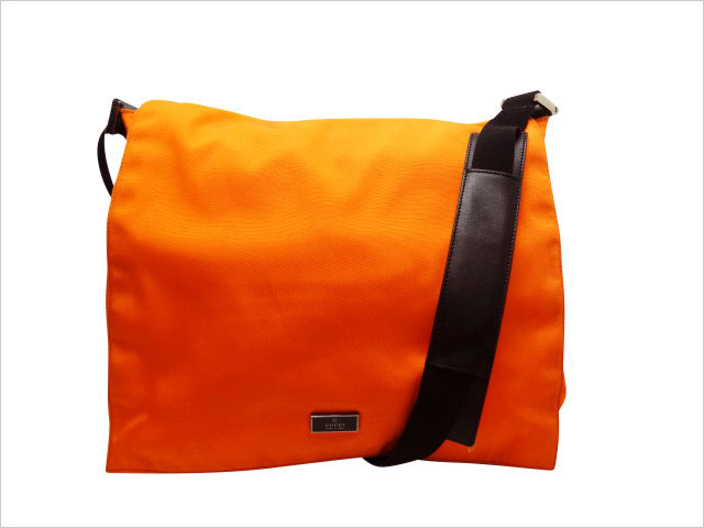 グッチ メッセンジャーショルダー 019・0340 オレンジ/黒 ナイロン/革 【中古】Bランク