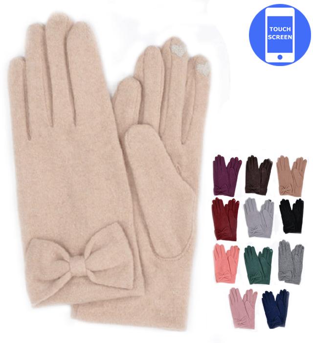 ★メール便・送料無料★リボングローブ ニット手袋 スマホ手袋 女性用手袋 無地 ジャージー シンプル かわいい※メール便は必ず注意事項を確認の上ご利用ください。
