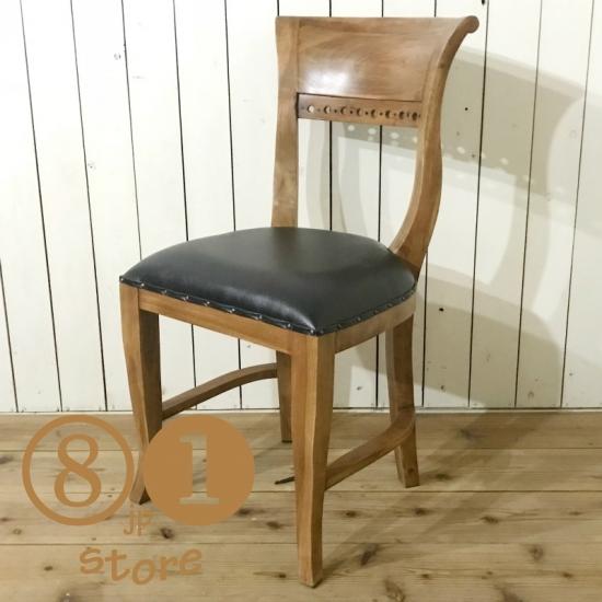 アンティーク調 キパスチェア ダイニングチェア 合皮座面 チーク 木製椅子 ダイニング カフェ ナチュラルチーク
