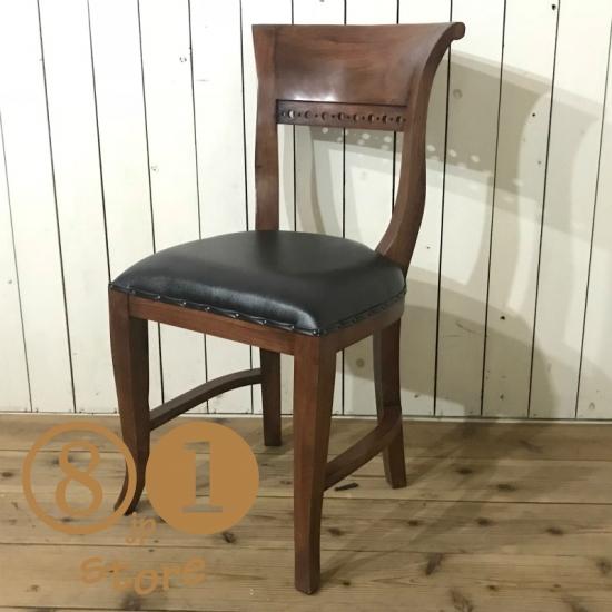 アンティーク調 キパスチェア ダイニングチェア 合皮座面 チーク 木製椅子 ダイニング カフェ ダーク