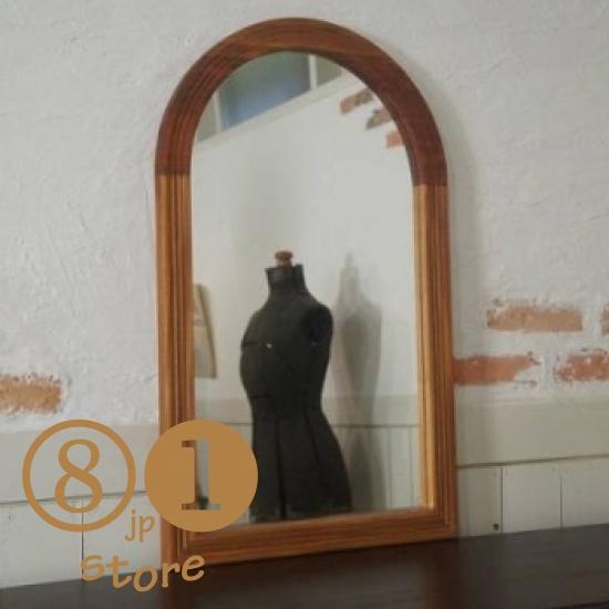 アンティーク調 木枠 ミラー 壁掛け鏡 アーチフレーム マホガニー