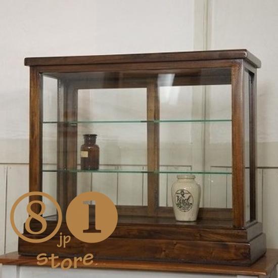 卓上 ガラスケース 古木 3段 5面 収納棚 飾り棚 駄菓子 店舗什器ダーク