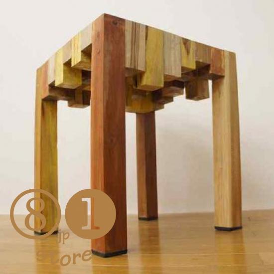 寄木ブロック スツール ナチュラル 椅子 イス 銘木チーク 天然木 無垢