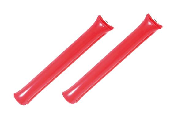 送料0円 ポリ応援棒 応援スティックバルーン 赤色 低価格 1袋2本入り