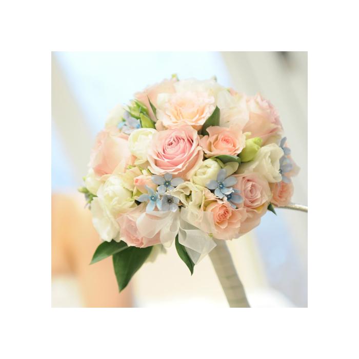 生花ラウンドウエディングブーケ・ブートニア付き 結婚祝い ラウンドブーケ 生花ブーケ