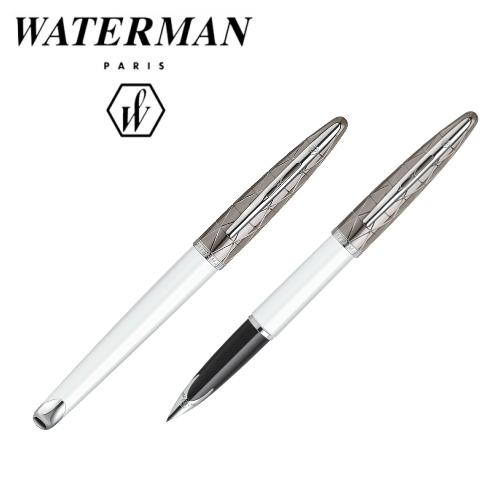 ■即納可能■ WATERMAN カレン デラックスコンテンポラリー ホワイトST 万年筆 [細字(F)/極細(EF)]ウォーターマン 458-S2-229-***-R