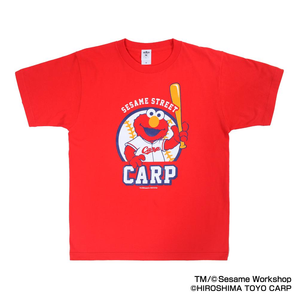 Hiroshima Toyo Carp goods SESAME STREET X carp T-shirt (Elmo) adult use