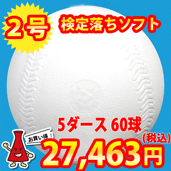 【練習球】検定落ちソフトボール 2号球  ナイガイソフトボール 5ダース(60球)