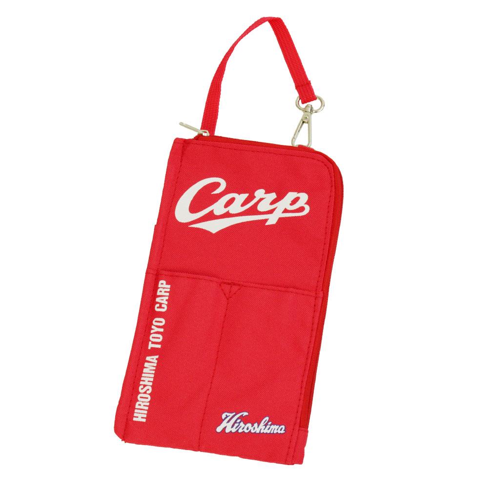 広島東洋カープグッズ バッグに吊るせるポーチ スマホケース 携帯 収納 バッグインバッグ 仕切り付き 小物入れ