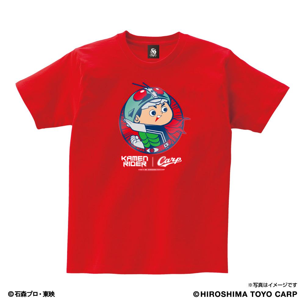 広島東洋カープ×仮面ライダー Tシャツ カープ坊や 変身 仮面ライダー変身ポーズ レッド