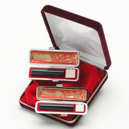 黒水牛 銀行印 13.5mm 認印 10.5mm セット (専用ケース付)(印鑑/女性用/印鑑セット//通販)