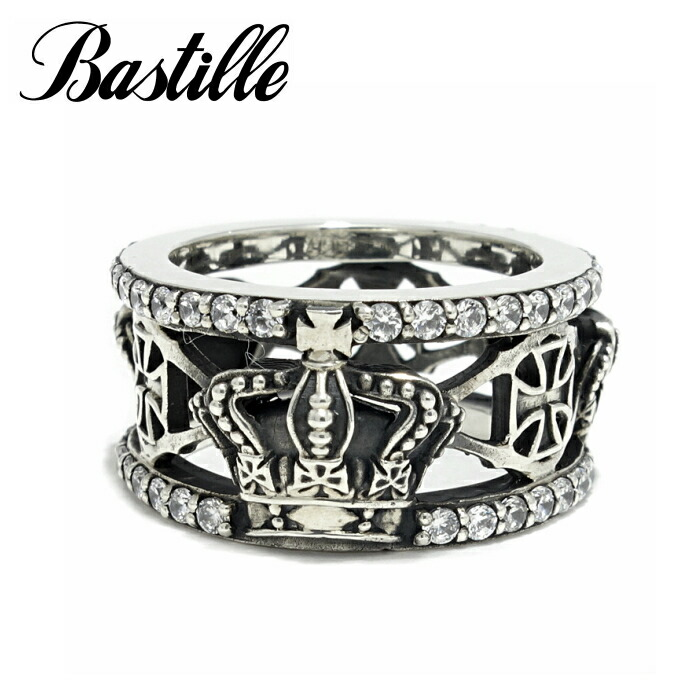 【Bastille/バスティーユ】ブリアンリング BK(燻し) シルバー925 シルバーリング パヴェCZ 王冠 クラウン クロス