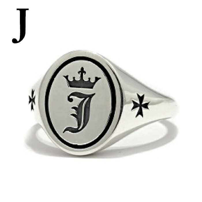 【Bastille/バスティーユ】イニシャルリング 印台リング ( J )シルバー925 リング 指輪 メンズ ピンキー メンズアクセサリー アルファベット
