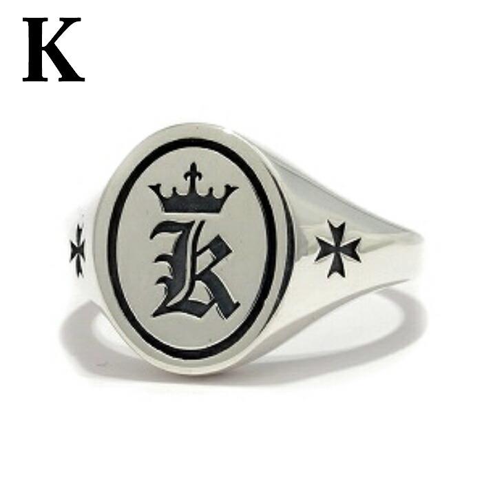 【Bastille/バスティーユ】イニシャルリング 印台リング ( K )シルバー925 リング 指輪 メンズ ピンキー メンズアクセサリー アルファベット