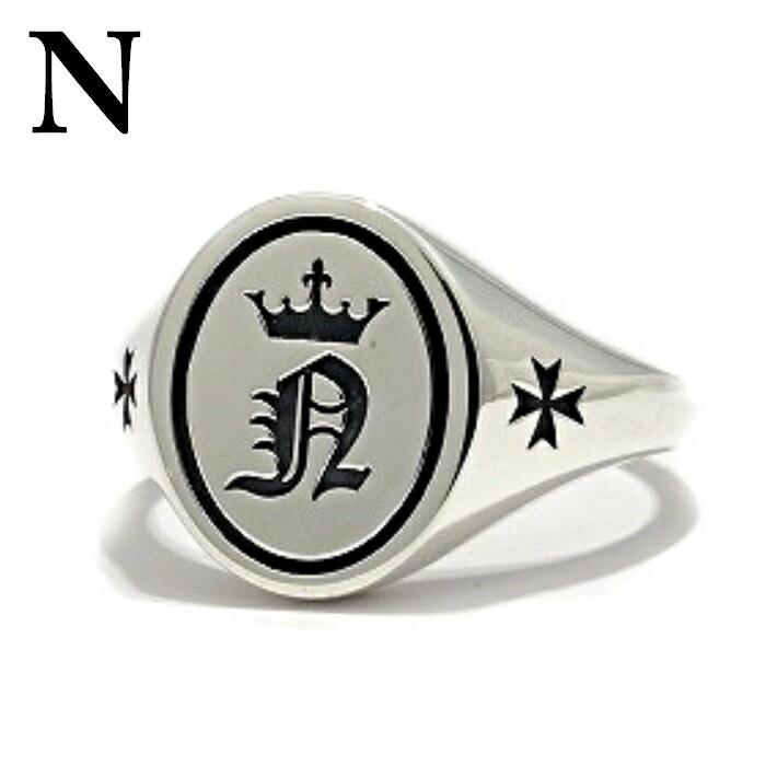 【Bastille/バスティーユ】イニシャルリング 印台リング ( N )シルバー925 リング 指輪 メンズ ピンキー メンズアクセサリー アルファベット