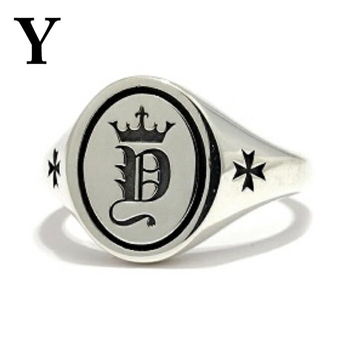 【Bastille/バスティーユ】イニシャルリング 印台リング ( Y ) シルバー925 リング 指輪 メンズ ピンキー メンズアクセサリー アルファベット