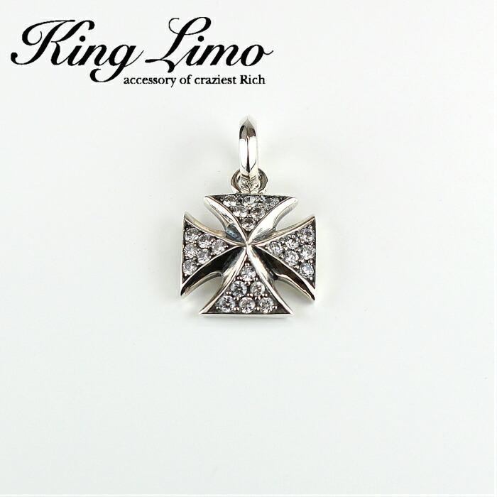 【King Limo/キングリモ】フレイバクロスペンダント アイアンクロス CZ キュービックジルコニア シルバー silver925