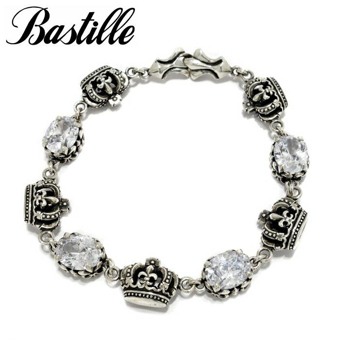【Bastille/バスティーユ】プリュネル ブレスレット レディース bracelet silver925 王冠 クラウン crown シルバー ブレスレット 石 ユリ 可愛い キラキラ 重ね着け
