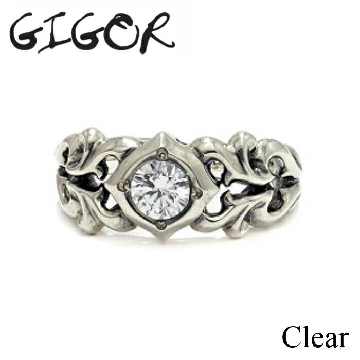 【GIGOR/ジゴロウ】ストーンハーツリング/Clear CZ シルバーリング Silver925 シルバー925 メンズ