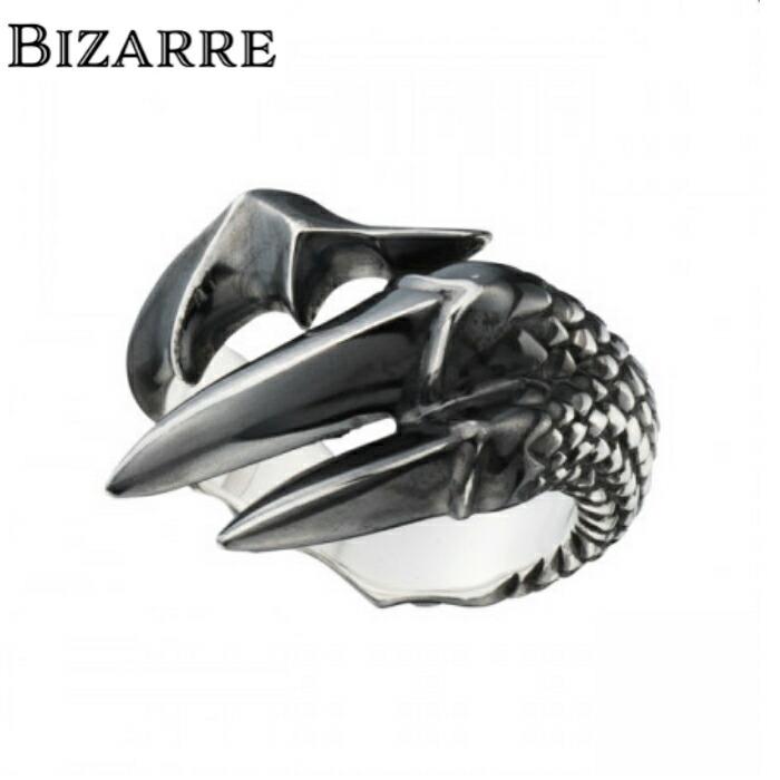 【BIZARRE/ビザール】ブラッククロウシルバーリング Mサイズ メンズ 指輪 翼 ゴシック フリーサイズ シルバー925 SILVER925 爬虫類
