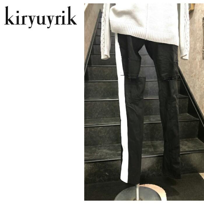 【kiryuyrik/キリュウキリュウ】DENIM Damage Skinny Pants/デニムダメージスキニーパンツ プリント ダメージデニム