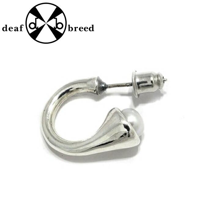 【deaf breed/デフブリード】P-28 w/パール シンプル プレーンフープピアス メンズピアス ユニセックス シルバーアクセサリー