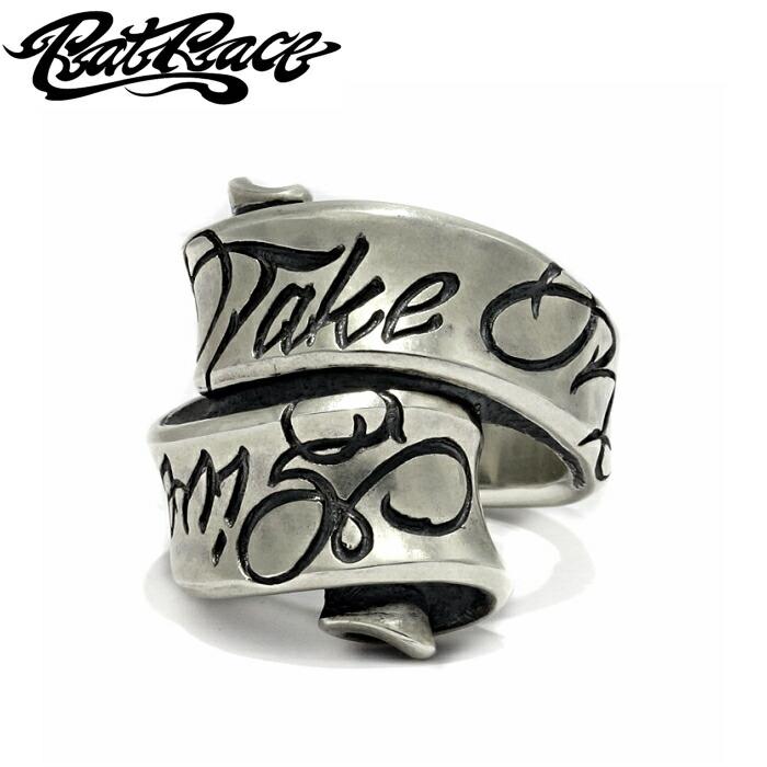 【Rat Race/ラットレース】Message on Ribbon Ring/Give No Take No メッセージリング メンズアクセサリー シルバー925 silver925 ribon リボンリング
