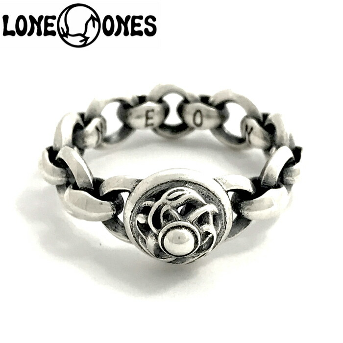 【LONE ONES/ロンワンズ】Mini Silk Link with Circles & Crane Dome Ring / ミニシルクリンクウィズサークルアンドクレーンドーム リング レナードカムホート Leonard Kamhout 指輪 シルバーアクセサリー メンズアクセサリー silver925 シルバーリング Ring