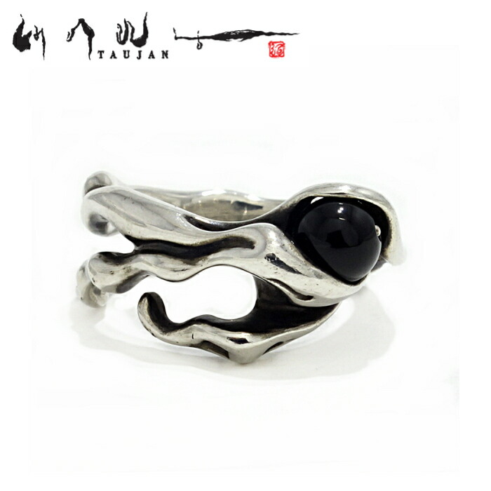 【TAUJAN/タウジャン】285-04onyx オニキス シルバーアクセサリー 脈 リング メンズ リング 指輪 メンズアクセサリー シルバー925