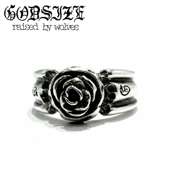 【GODSIZE/ゴッドサイズ】ROSE RING ローズリング 薔薇 ユニセックス シルバー リング メンズ