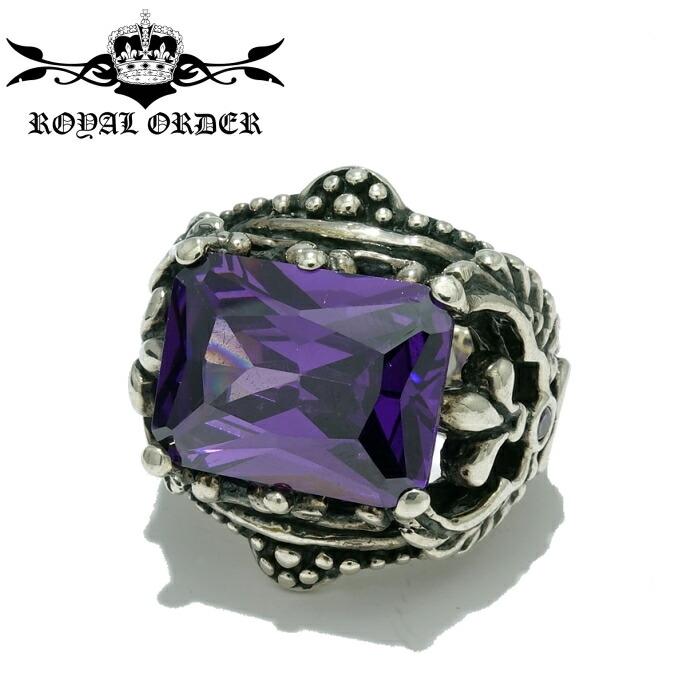 【Royal Order/ロイヤルオーダー】CORONET WINGED HEART RING /Purple コロネットウィングハートリング 紫 パープル 石 大粒 指輪 ゴシック調 シルバーアクセサリー レディース ゴツめ メンズアクセサリー silver925 シルバーリング Ring