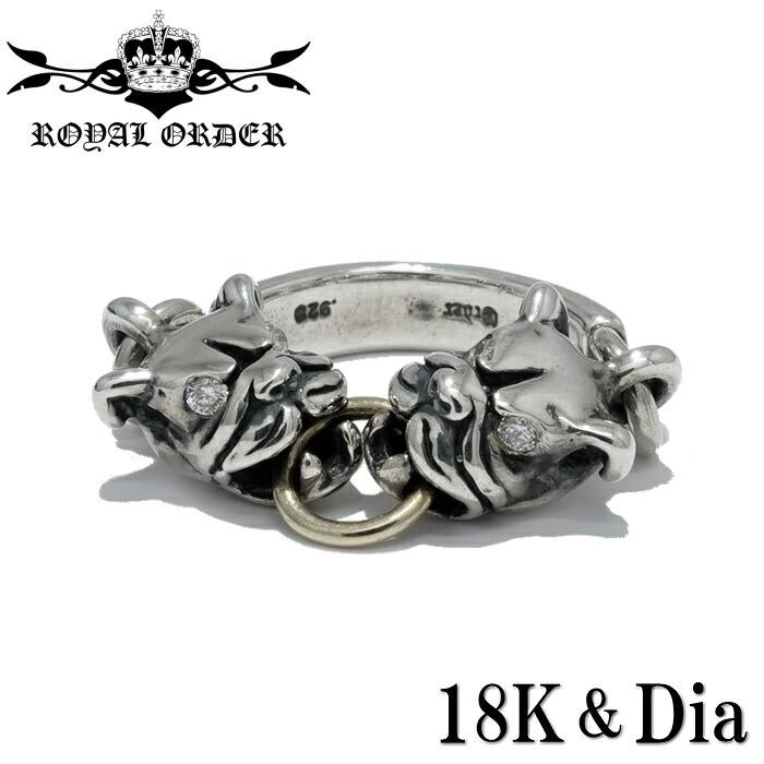 【Royal Order/ロイヤルオーダー】MINI PIT BULL RING/ミニピットブルリングCustom ブルドッグ ダイヤモンド 18K YellowGold 指輪 シルバーアクセサリー メンズアクセサリー silver925 シルバーリング Ring