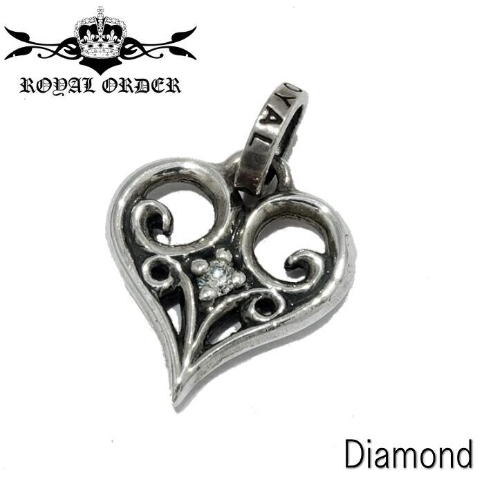 【Royal Order/ロイヤルオーダー】ALLEGRA HEART w/Dia PENDANT/アレグラハートウィズダイヤモンドペンダント ハートチャーム シルバーアクセサリ シルバー925