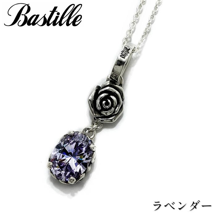 【Bastille/バスティーユ】ジャルダン ネックレス ラベンダー シルバーアクセサリー 薔薇 Rose チャーム ドロップ レディース ギフト
