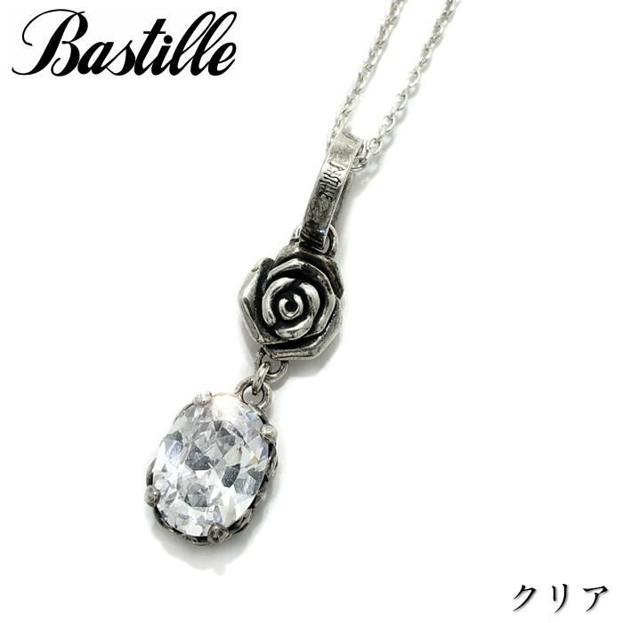 【Bastille/バスティーユ】ジャルダン ネックレス クリアー clear シルバーアクセサリー 薔薇 Rose チャーム ドロップ レディース ギフト
