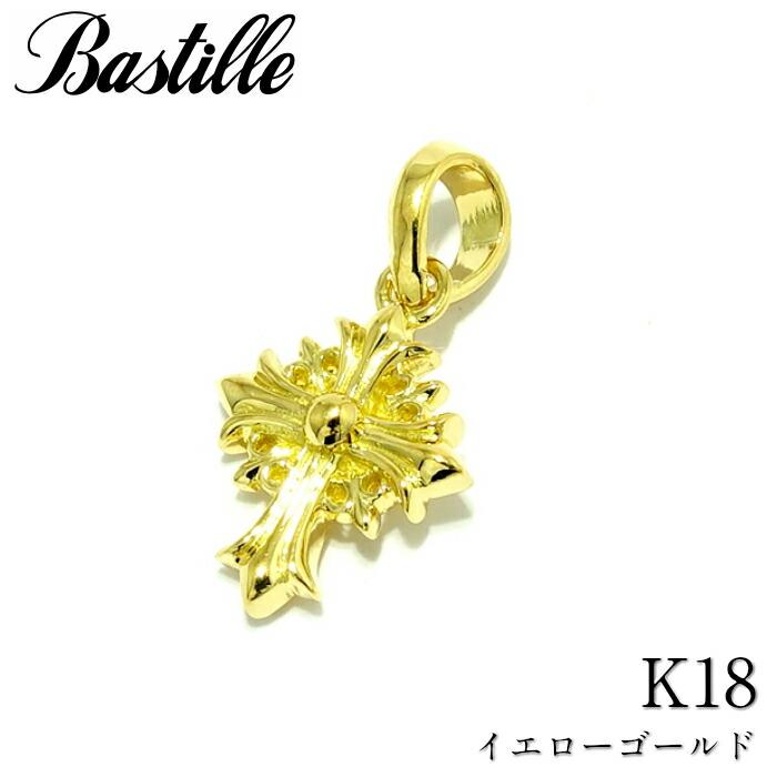 【Bastille/バスティーユ】タイニールイクルワチャーム K18 イエローゴールド クロス チャーム シルバー 十字架 CROSS メンズ タイニー