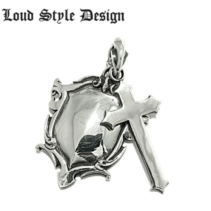 【Loud Style Design/ラウドスタイルデザイン】UH-017 LSD シールド クロス 十字架 メンズアクセサリー シルバー925  チェーン付