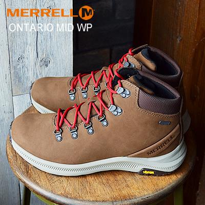 送料無料 40%OFF 内祝い MERRELL ONTARIO MID WATERPROOF メレル オンタリオ 新着 ミッド シューズ EARTH フェス DARK ブーツ 靴 ウォータープルーフ 防水 ダークアース