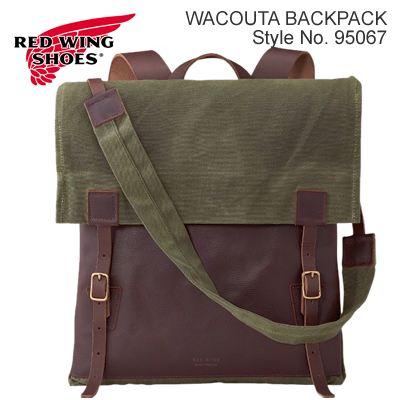 RED WING レッドウィング Wacouta Backpack ワクータ バックパック Briar Oil Slick Leather/Olive Waxed Canvas ブライアー・オイルスリックレザー/オリーブ・ワックスドキャンバス【480mm×430mm】リュック バッグ MADE IN USA 米国製