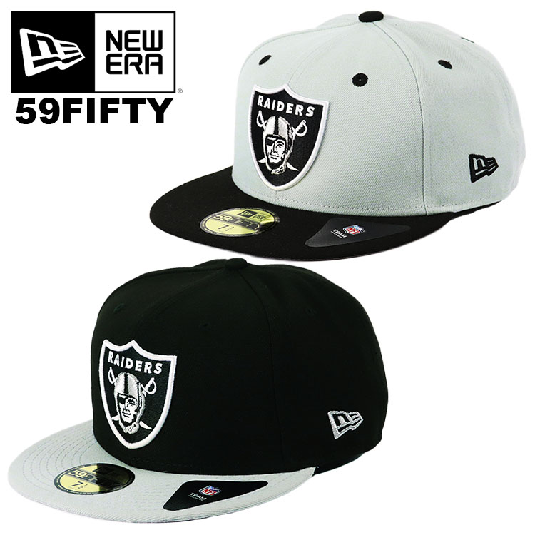 New Era 59Fifty NFL Cap Oakland Raiders Mens Gray Black 2 Tone Fitted Hat 5950