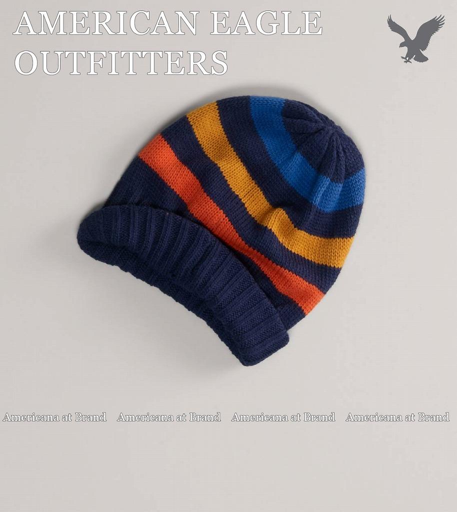 e7f63318fe2d9 Americana at Brand  American eagle AEO Striped Beanie men reversible knit  cap knit hat □ Blue  is blue