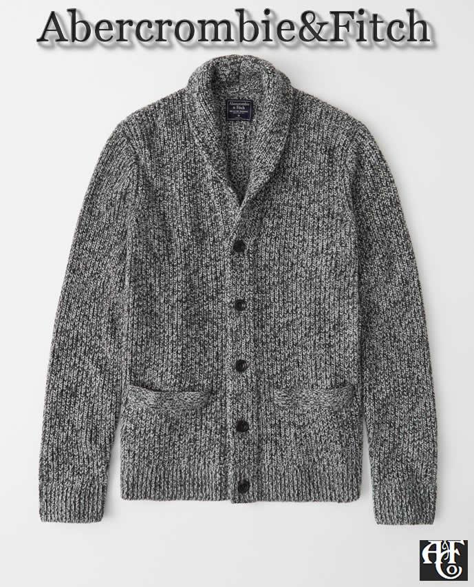 【送料無料】アバクロ Abercrombie&Fitch(アバクロンビー&フィッチ)【正規品】【メンズ】Wool-Blend Shawl Cardigan ウール混 ショールカラー カーディガン/Grey Black Mix【あす楽対応】