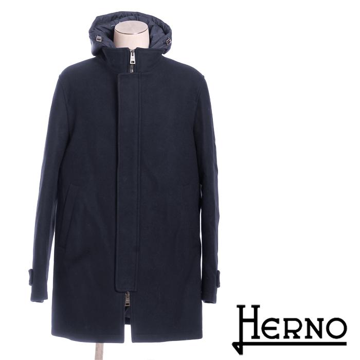 送料無料 HERNO ヘルノ 2way メンズ ウール フード付きコート 大人のお洒落アウター 裏地ダウンで防寒バッチリ PI0332U 39601 [4119]【4800円以上送料無料】