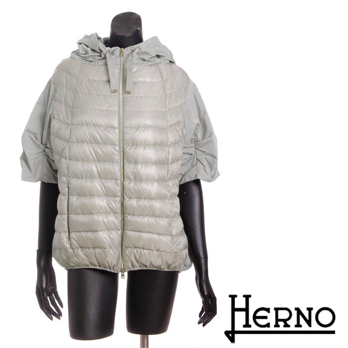 【訳あり】【送料無料】【HERNO】ヘルノ/5分袖フードジャケット/お洒落な切替袖/軽量ダウンでしっかり防寒/PI0301D/12017[4124b]【4800円以上送料無料】