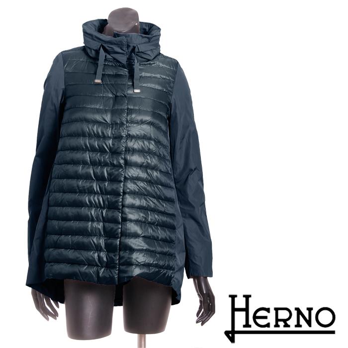 送料無料 HERNO ヘルノ 2way ダウンハーフコート 超軽量ダウンジャケット しっかり防寒 お洒落な切替デザイン PI0639D 12017 [4136n]【4800円以上送料無料】